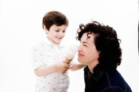 Lori Joyce and her son with ice cream